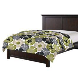 Modern Gray & Green Floral Duvet Cover