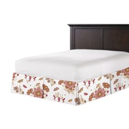 Sketched Pink Floral Bed Skirt with Pleats