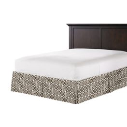 Modern Taupe Trellis Bed Skirt with Pleats