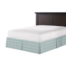 Modern Teal Trellis Bed Skirt with Pleats