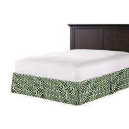Modern Green Trellis Bed Skirt with Pleats