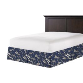Navy Blue Floral & Bird Bed Skirt with Pleats