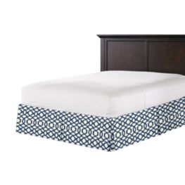 Flocked Blue Trellis Bed Skirt with Pleats