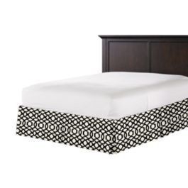 Black & White Trellis Bed Skirt with Pleats