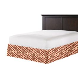 Flocked Tan & Red Trellis Bed Skirt with Pleats