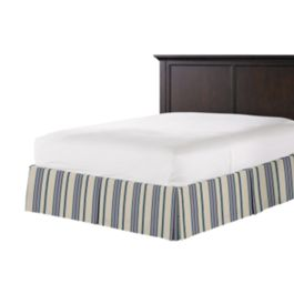 Gray, Teal & Blue Stripe Bed Skirt with Pleats