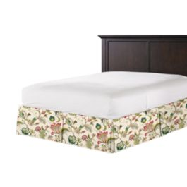 Teal & Pink Floral Bed Skirt with Pleats