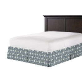 Blue Moroccan Mosaic Bed Skirt with Pleats