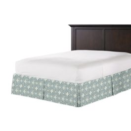 Aqua Moroccan Mosaic Bed Skirt with Pleats