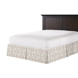 Gray Moroccan Trellis Bed Skirt with Pleats