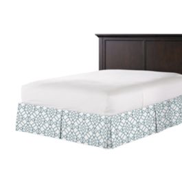 Turquoise Trellis Scroll Bed Skirt with Pleats