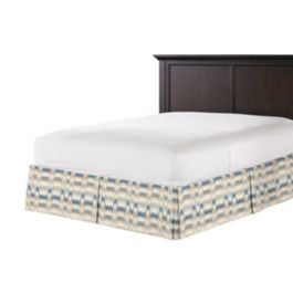 Tan & Blue Flame Stitch Bed Skirt with Pleats