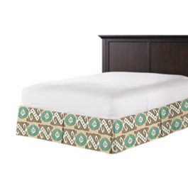 Handwoven Tan & Teal Ikat Bed Skirt with Pleats