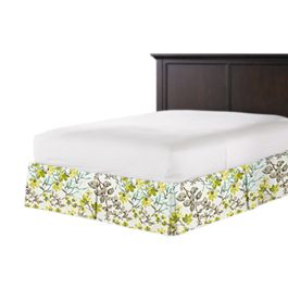 Aqua Blue Watercolor Floral Bed Skirt with Pleats
