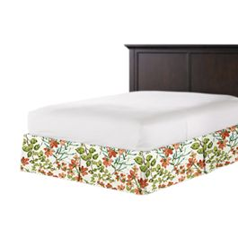 Coral Watercolor Floral Bed Skirt with Pleats