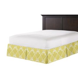 Embroidered Green Scroll Bed Skirt with Pleats