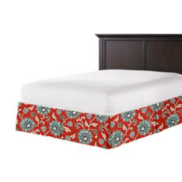 Aqua & Red Floral Bed Skirt with Pleats