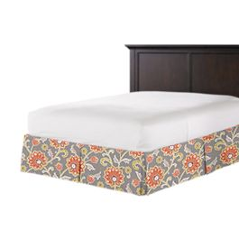 Coral & Gray Floral Bed Skirt with Pleats