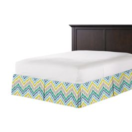 Gray, Green & Blue Chevron Bed Skirt with Pleats