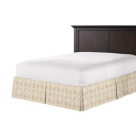 Beige Diamond Block Print Bed Skirt with Pleats