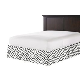 Black & White Diamond Bed Skirt with Pleats
