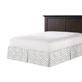 White & Gray Diamond Bed Skirt with Pleats