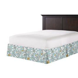 Modern Aqua Floral Bed Skirt with Pleats