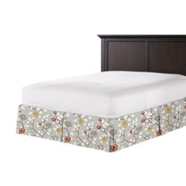 Modern Gray Floral Bed Skirt with Pleats