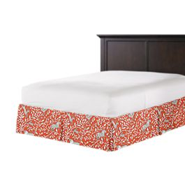 Red Animal Motif Bed Skirt with Pleats