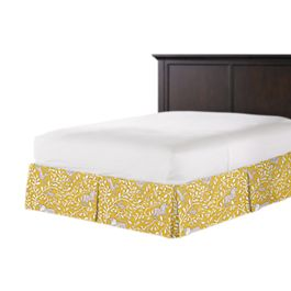 Yellow Animal Motif Bed Skirt with Pleats