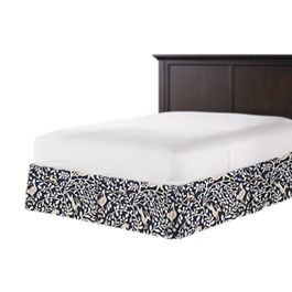Navy Blue Animal Motif Bed Skirt with Pleats