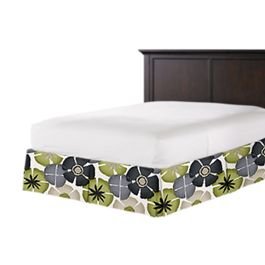 Modern Gray & Green Floral Bed Skirt with Pleats