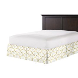 Embroidered Light Yellow Chain Bed Skirt with Pleats