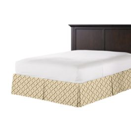 Gold & Tan Embroidered Quatrefoil Bed Skirt with Pleats