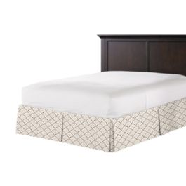 Embroidered Taupe Scallop Bed Skirt with Pleats