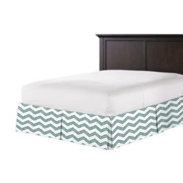 White & Blue Chevron Bed Skirt with Pleats