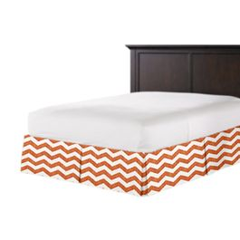 White & Orange Chevron Bed Skirt with Pleats