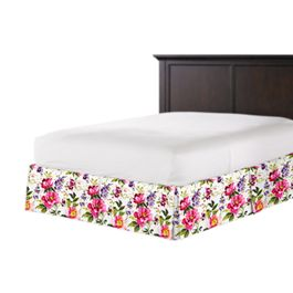 Chintz-like Pink Floral Bed Skirt with Pleats
