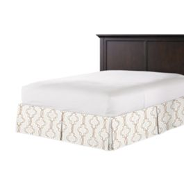 Embroidered Gold Trellis Bed Skirt with Pleats