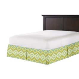 Aqua & Green Flame Stitch Bed Skirt with Pleats