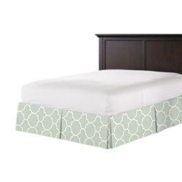 Sea Green Quatrefoil Bed Skirt with Pleats