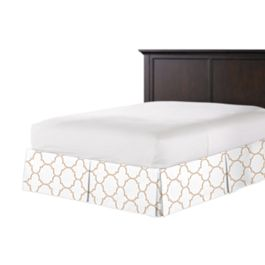Light Beige Quatrefoil Bed Skirt with Pleats