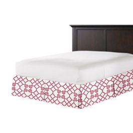 Asian Pink Trellis Bed Skirt with Pleats