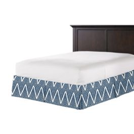 Tribal Navy Blue Chevron Bed Skirt with Pleats