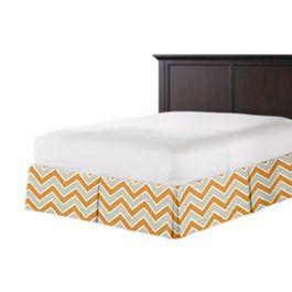 Tan & Orange Chevron  Bed Skirt with Pleats