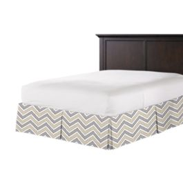 Tan & Gray Chevron Bed Skirt with Pleats