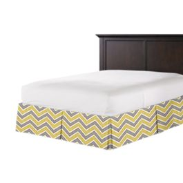 Gray & Yellow Chevron Bed Skirt with Pleats