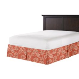 Coral Red Fan Leaf Bed Skirt with Pleats