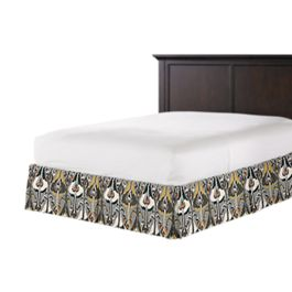 Gray & Orange Ikat Bed Skirt with Pleats