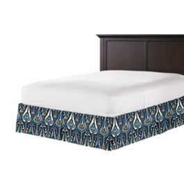 Navy Blue Ikat Bed Skirt with Pleats